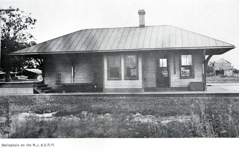 Belleplain Railroad Station and buildings behind it