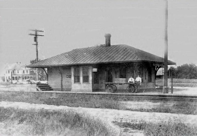 Belleplain Railroad Station with 2 men and a wagon in front