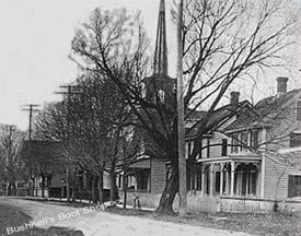 dennisville street scene with church