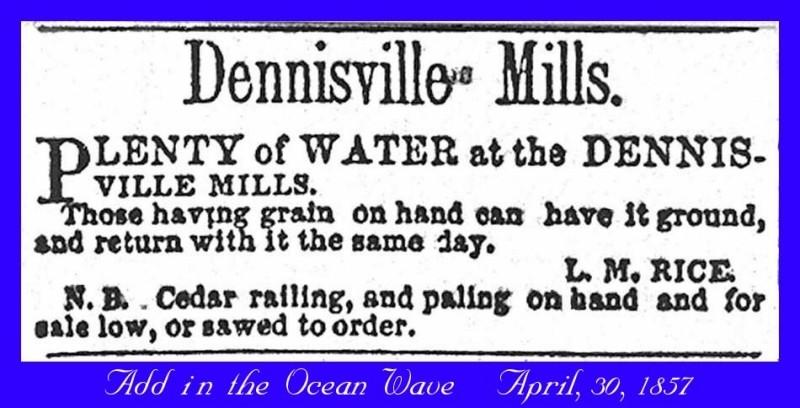 Newspaper advertisesment for Dennisville Mills