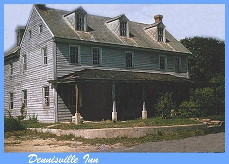 Hand colored photo of the front of Dennisville Inn