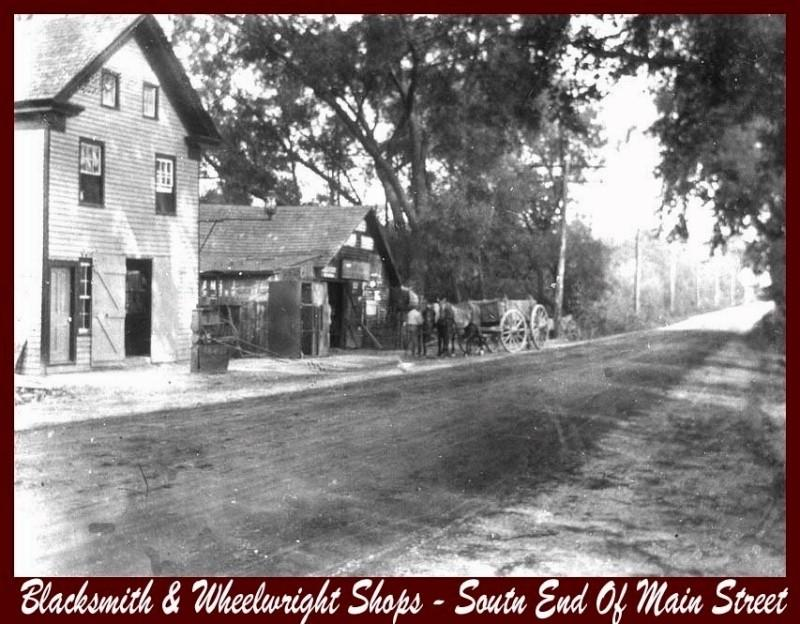 Blacksmith & Wheelright Shops with a horse carriage in front