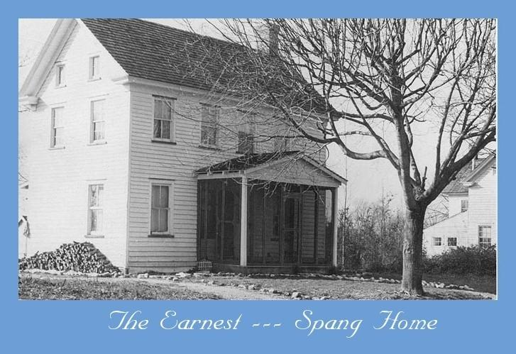 Earnest Spang House with tree in front and firewood piled alongside