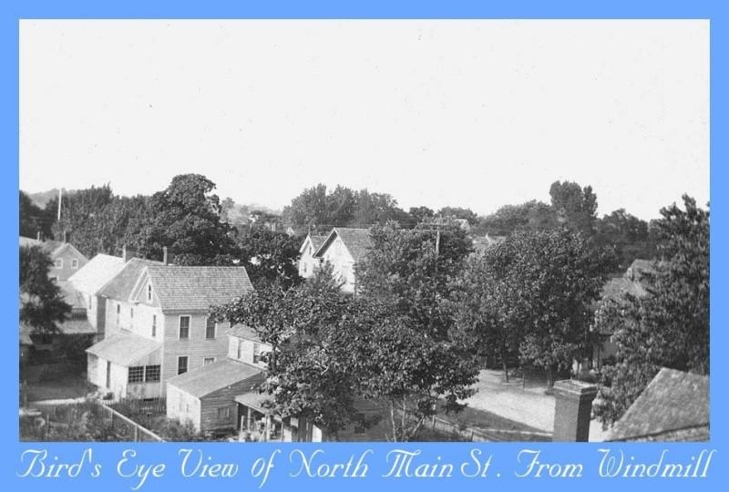 Aerial view of North Main Street in Dennisville taken from the windmill