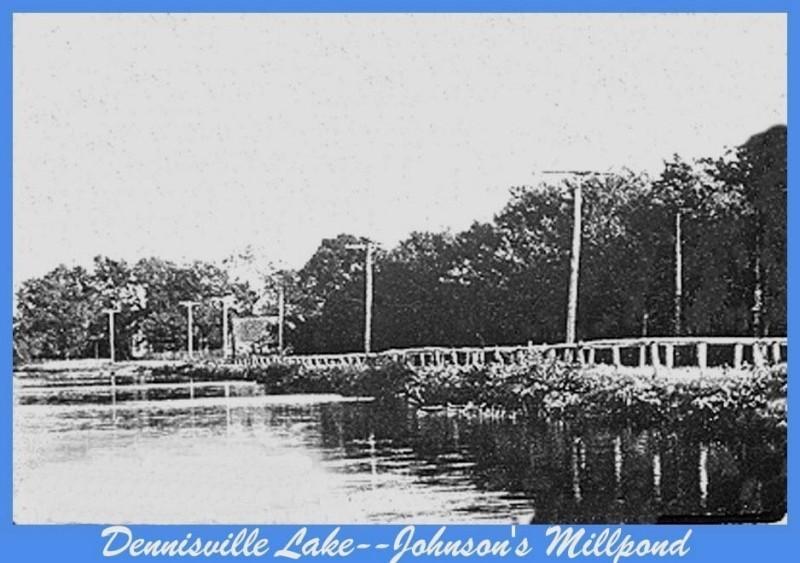 Grainy photo of road running along Johnsons Mill Pond
