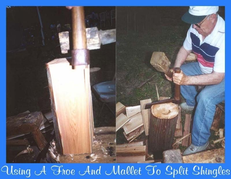 Demonstration of using a froe and mallet for splitting logs