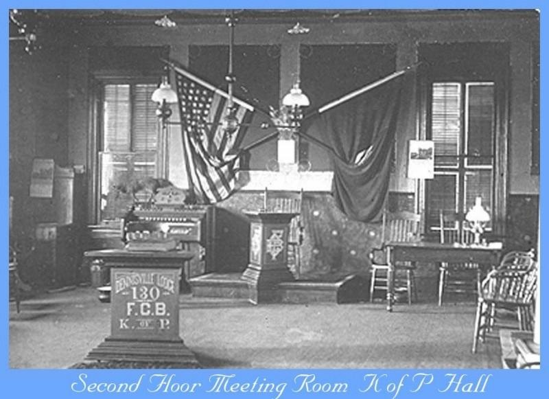 Interior meeting room of the Knights of Pythias Hall