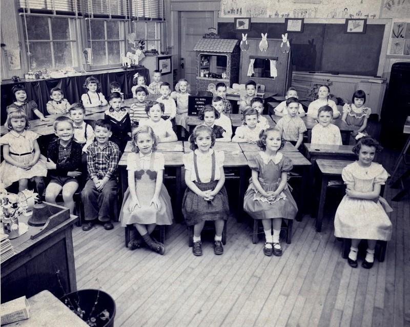 Indoor photo of the Eldora School Class of 1956