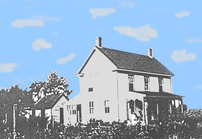 Old hand colored photo of the Chambers house