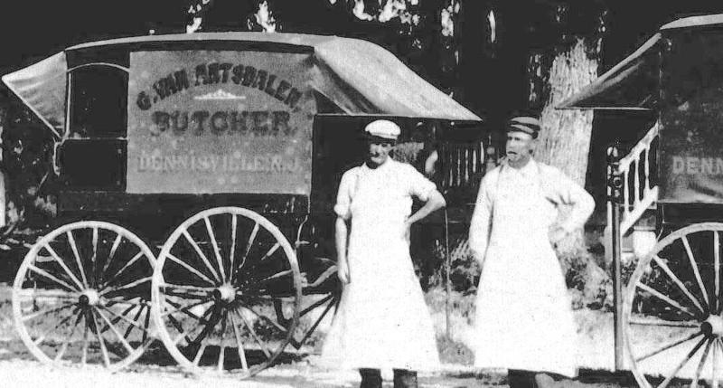 Van Artsdalen Butchers workers and wagon