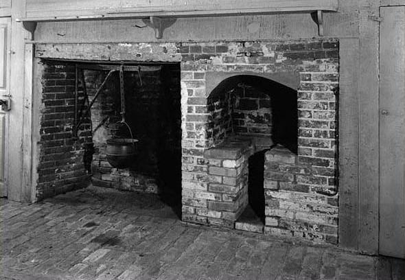 Large kitchen fireplace in the William Townsend home