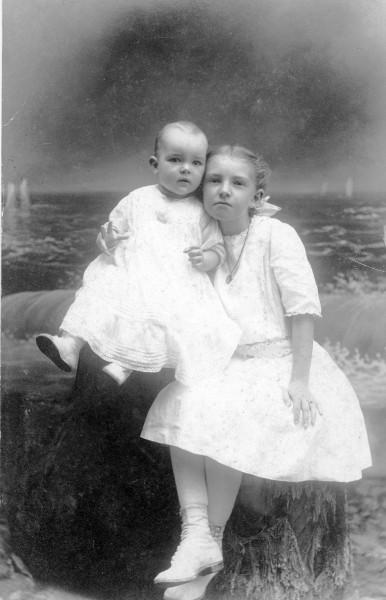 Baby Margaret Nickerson with young Elizabeth Peterson