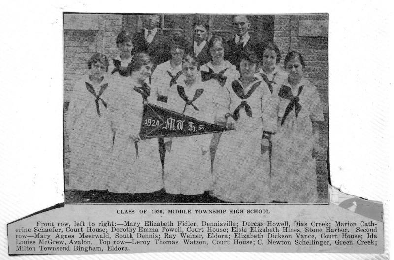 Newspaper clipping of the Middle Township High School Class of 1920