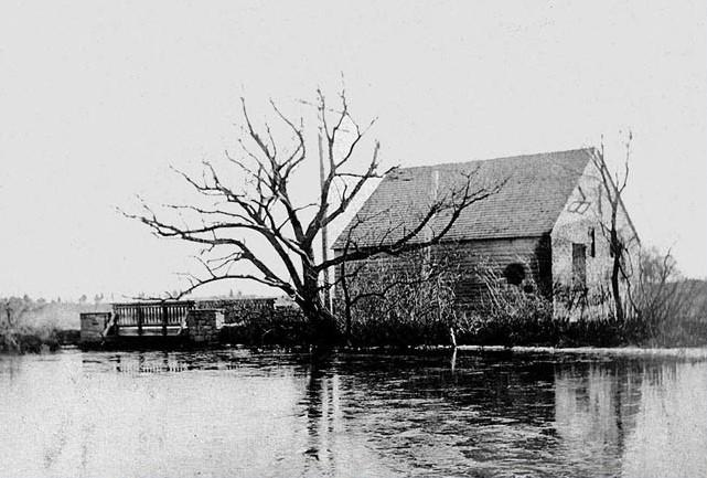 Townsends Mill with tree alongside Magnolia Lake