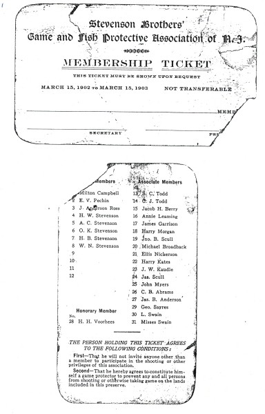 Membership list and ticket for the Beaver Dam Hunting Club