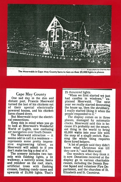 Newspaper article on Meerwalk house and 25,000 holiday lights