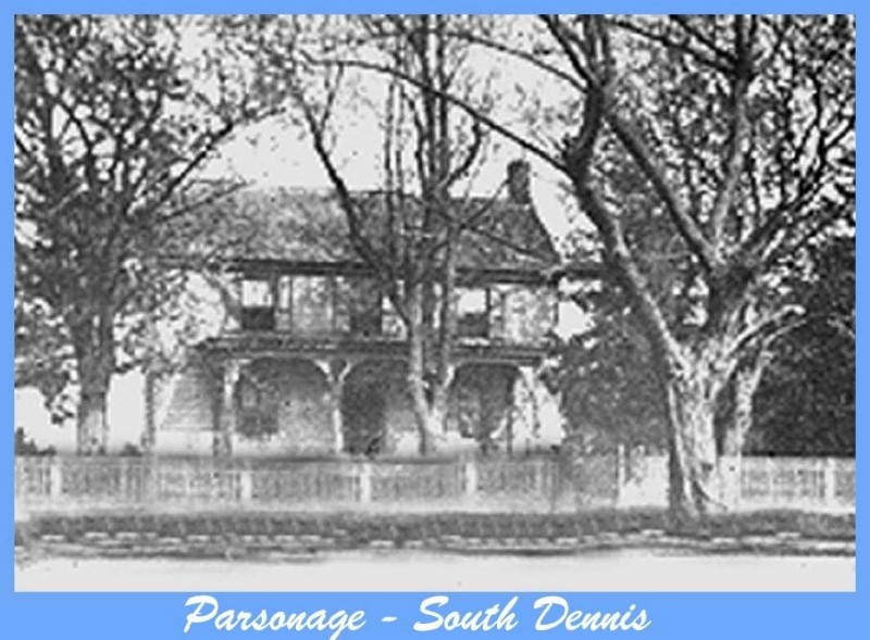 Parsonage house with trees and fence