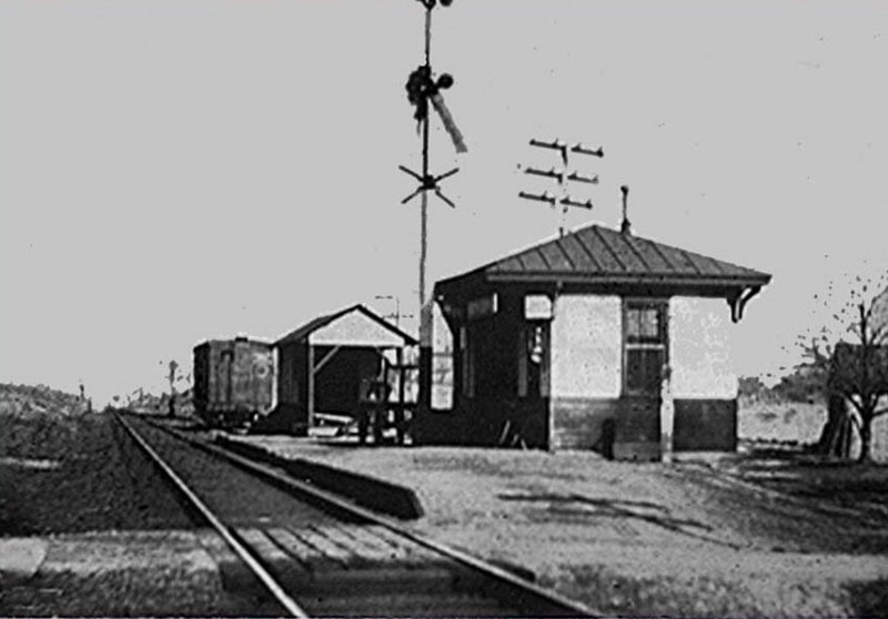 Railroad station in South Dennis with tracks and signals