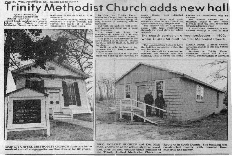 Trinity Methodist Church Newspaper Article about a new hall being built