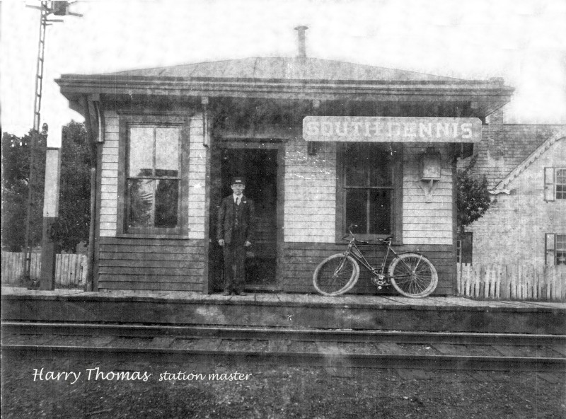 South Dennis Rail Station with Master Harry Thomas standing in doorway