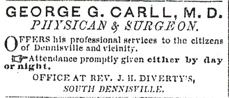 Advertisement in newspaper for Dr. Carll