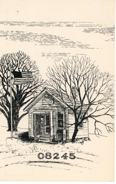 Ink drawing of the South Dennis Post Office with zipcode of 08245