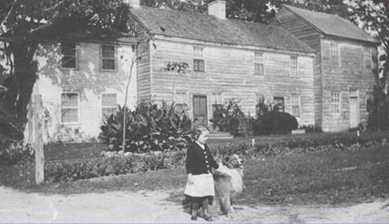 Little girl walking with dog in front of the Step House