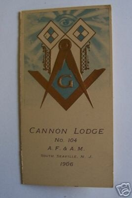 Cannon lodge card from 1906