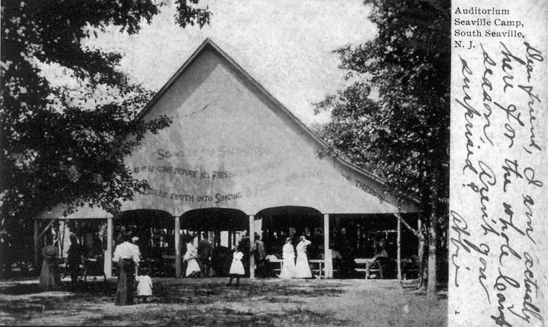 Postcard showing the Seaville Camp auditorium