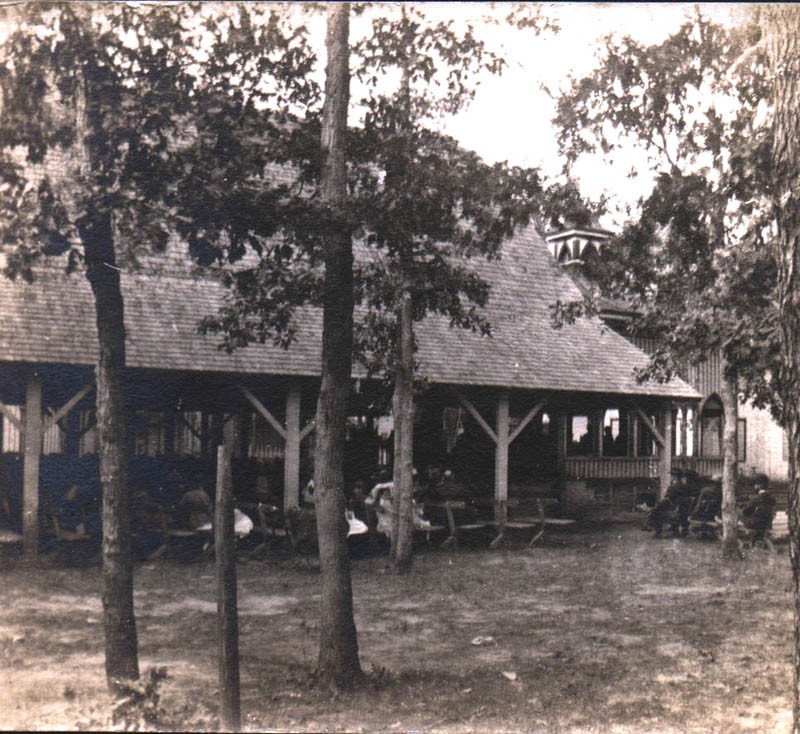 South Seaville Camp open building with people sitting inside