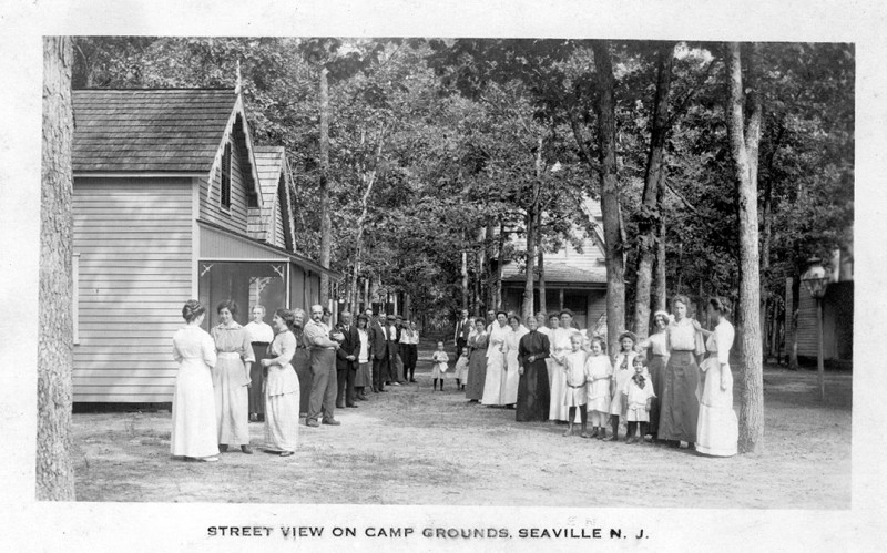 Sunday School camp in Seaville with ladies and children