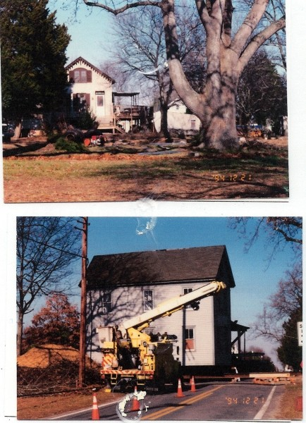 Scenes of the Cain house being moved