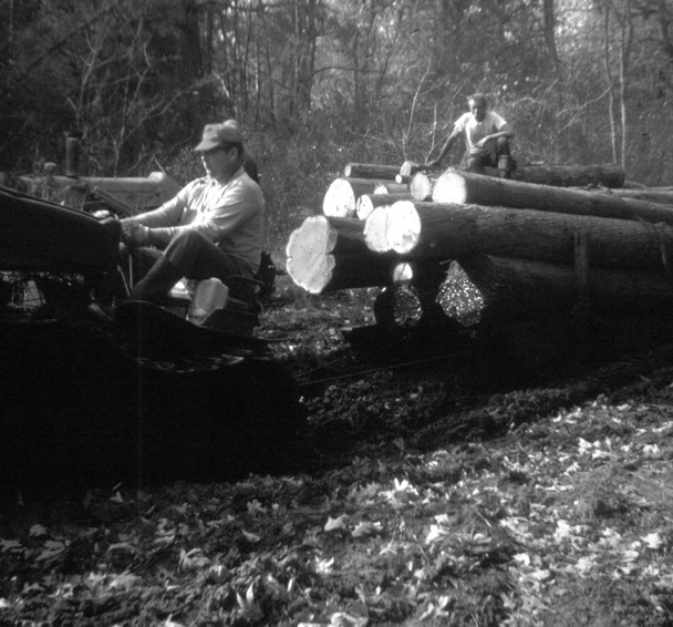 Logs being pullled by a John Deere tractor