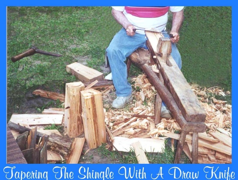 Demonstration of old technique of tapering shingles with a draw knife