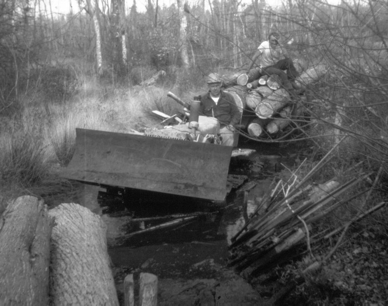 Small bulldozer pulling logs through the swamp