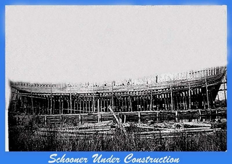 Schooner under construction with just framing