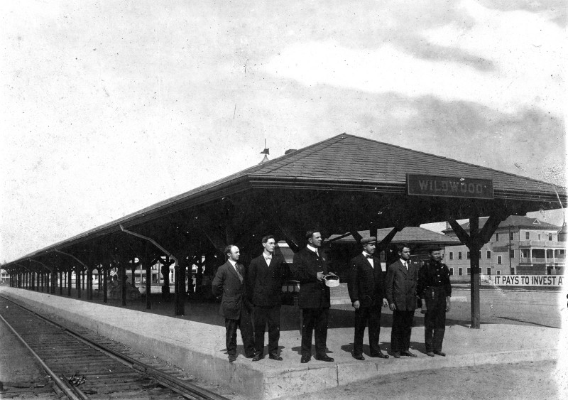 Vintage photo of men standing in front of the Wildwood Station