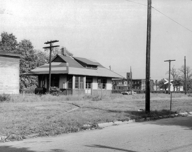 Vintage black and white photo of Woodbine Railroad Station
