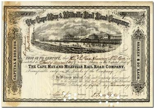 Antique Cape May & Millville Rail Road certificate
