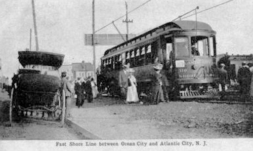 Antique photo of Fast Shore Line trolley